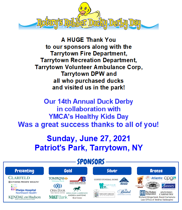 2021 Duck Derby Thank You